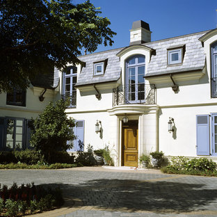 Inspiration for a mediterranean two-story exterior home remodel in Santa Barbara
