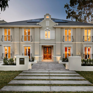 Example of a mid-sized classic two-story exterior home design in Perth