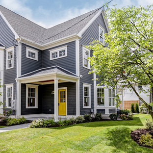 Mid-sized transitional gray three-story concrete fiberboard gable roof idea in Boston