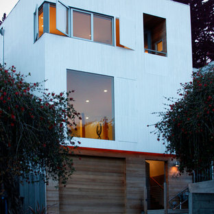 Example of a minimalist wood exterior home design in San Francisco