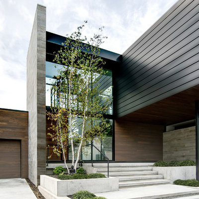 Trendy two-story mixed siding exterior home photo in Chicago