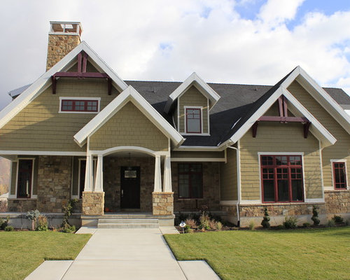 Mid-sized arts and crafts two-story exterior home photo in Salt Lake City