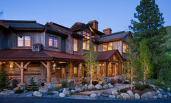 Front Exterior, Reclaimed wood siding, hand hewn logs, Telluride Stone, Steamboa
