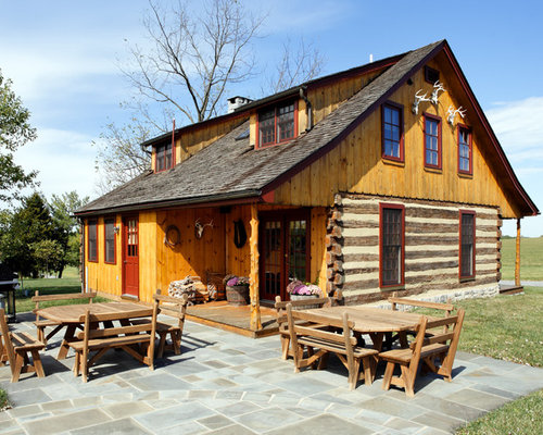 Pine log siding trim home design ideas pictures remodel for Cabin exterior design ideas