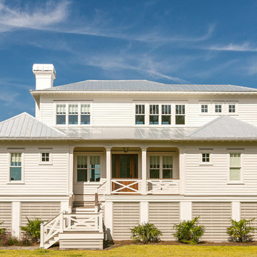 Front of Two Story Craftsman Coastal Cottage Home