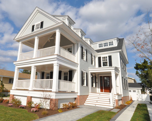 Two story porch houzz for 2 story porch columns