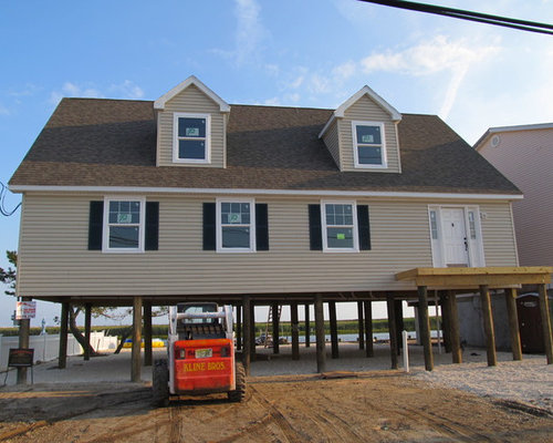 Jersey shore house on pylons custom modular home build for Beach house plans on pylons