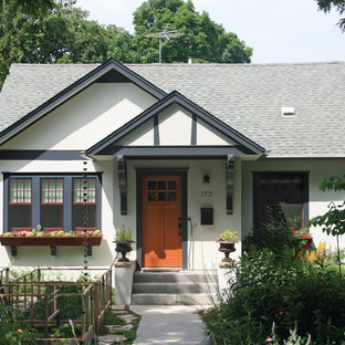 Inspiration for a small timeless one-story gable roof remodel in Minneapolis