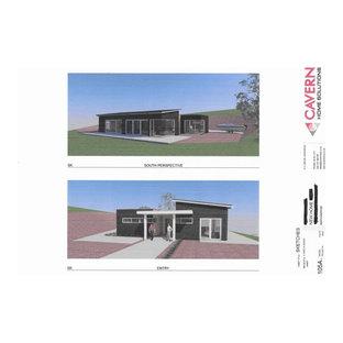Mittelgroßes, Einstöckiges, Schwarzes Modernes Reihenhaus mit Mix-Fassade, Schmetterlingsdach und Blechdach in Sonstige