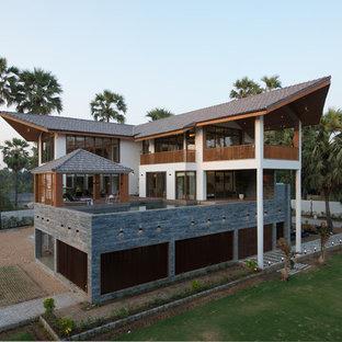 Aménagement d'une façade de maison asiatique.
