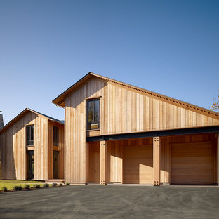 Trendy wood gable roof photo in San Francisco