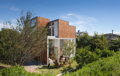 Houzzツアー:雄大な棚田風景と連続性をもたせた、スキップフロアの家