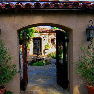 Gated Hacienda Courtyard Entrance to Montecito Home
