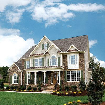 Traditional stone exterior home idea in Atlanta