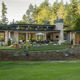 Idee per la facciata di una casa unifamiliare grigia contemporanea a un piano di medie dimensioni con rivestimento con lastre in cemento, tetto piano e copertura mista