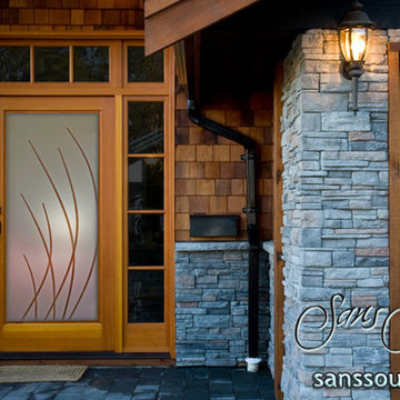 Glass Entry Door Sleek Arcs Etched Glass