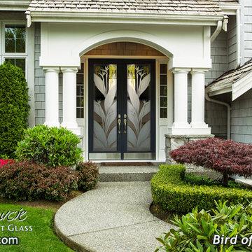 Glass Front Doors - Exterior Glass Doors - Glass Entry Doors Bird of Paradise 3D