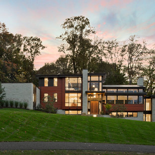 Large minimalist multicolored three-story wood exterior home photo in Cleveland