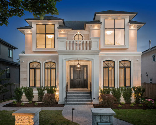 Wonderful Example Of A Large Classic White Two Story Stone Exterior Home Design In  Vancouver With