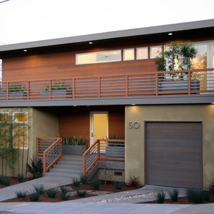 This is an example of a contemporary exterior in San Francisco with wood cladding.
