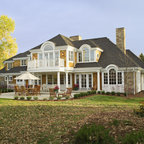 Shingle Style Home Drive Court To Entry Elevation