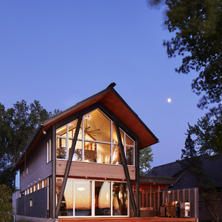 Inspiration For A Small Contemporary Brown Two Story Wood Gable Roof  Remodel In Minneapolis With