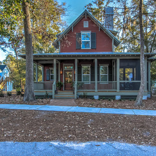 Small elegant red two-story concrete fiberboard gable roof photo in Atlanta