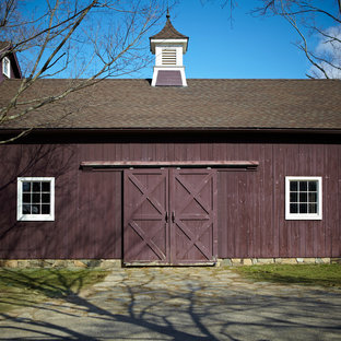 Country wood exterior home photo in New York