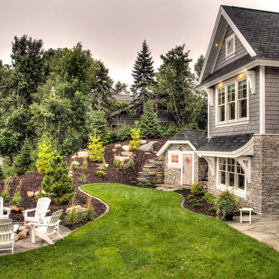 Small elegant gray two-story mixed siding exterior home photo in Minneapolis with a shingle roof