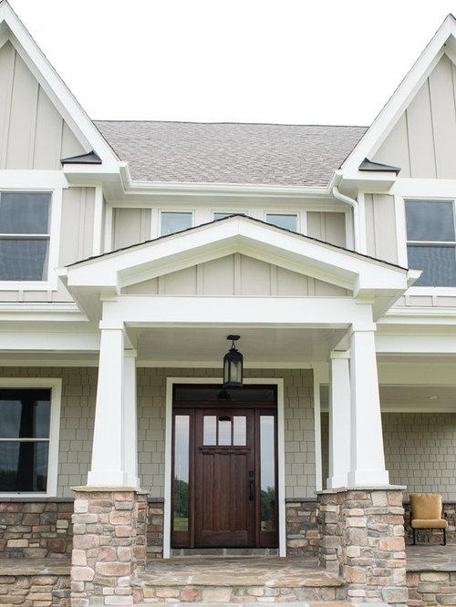 Craftsman beige gable roof home design ideas remodels Craftsman roofing