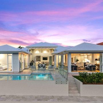 Hampton style waterfront home design