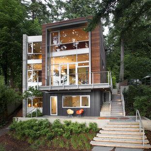 Ispirazione per la villa marrone contemporanea a tre piani di medie dimensioni con rivestimento in legno e tetto piano