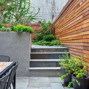 На фото: большой, четырехэтажный, черный таунхаус в современном стиле с облицовкой из цементной штукатурки и плоской крышей