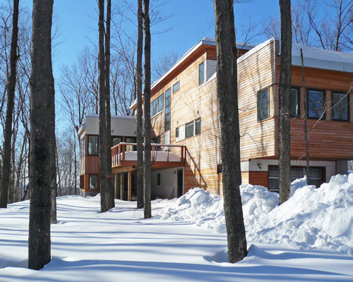 Modern Wood Flat Roof Idea In New York