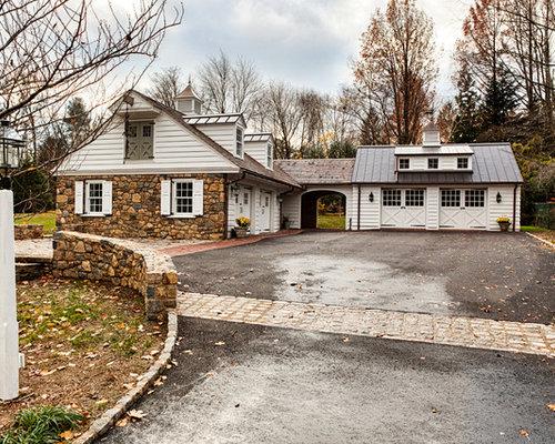 Farmhouse Mixed Siding Exterior Design Ideas Remodels Photos