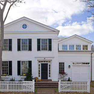 Inspiration for a timeless wood gable roof remodel in Boston
