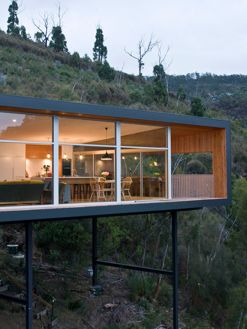 Inspiration For A Modern One Story Flat Roof Remodel In Hobart