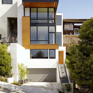 Inspiration for a modern exterior in San Francisco with wood cladding.