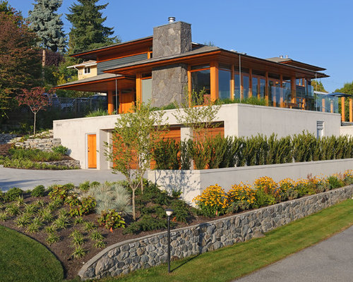Superieur Example Of A Large Trendy Gray Three Story Mixed Siding Exterior Home Design  In Vancouver