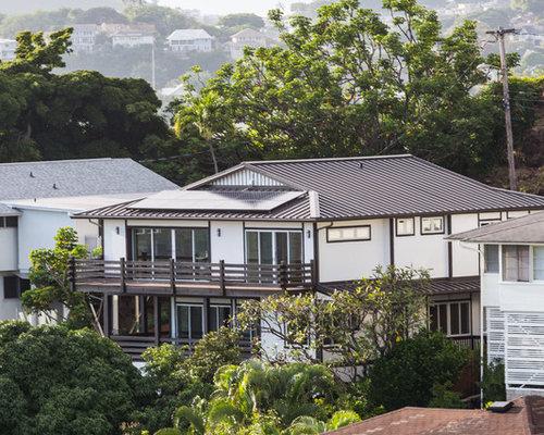 Asian stucco exterior design ideas remodels photos for Japanese exterior design