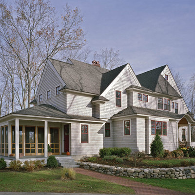 Traditional three-story wood gable roof idea in Boston