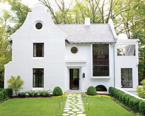 Transitional White Two Story Gable Roof Idea In Dallas With A Shingle Roof