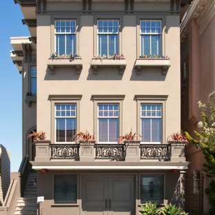 Example of a mid-sized classic brown three-story apartment exterior design in San Francisco