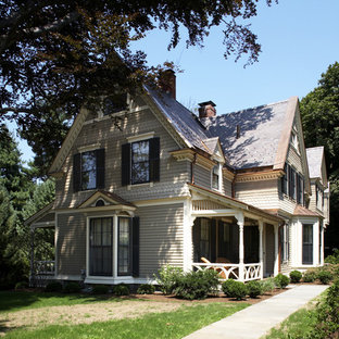Inspiration for a victorian wood exterior home remodel in Boston