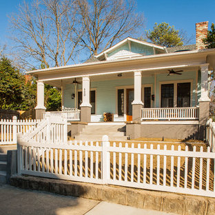 This is an example of an arts and crafts blue exterior in Atlanta.