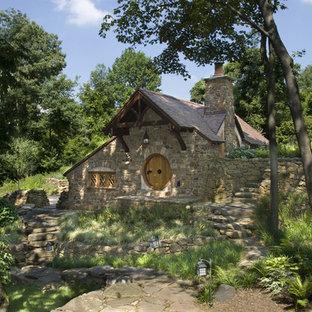 Mountain style stone exterior home photo in Philadelphia