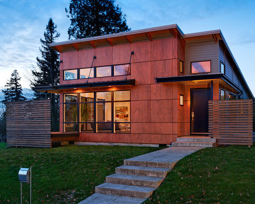 Inspiration for a small contemporary exterior home remodel in Portland - Wood Panel Siding Houzz