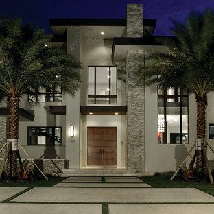 Aménagement d'une façade de maison blanche contemporaine à un étage.