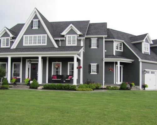 Iron gray hardie houzz - White house gray trim ...