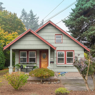 Transitional green one-story exterior home photo in Portland